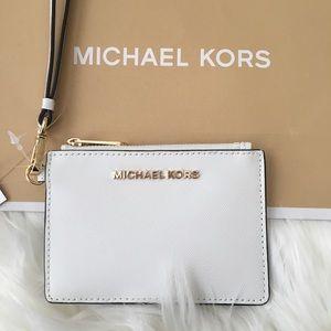 Michael Kors White Coin Purse Leather Wristlet